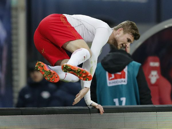 Timo Werner of RB Leipzig celebrates after winning the Bundesliga match between RB Leipzig and TSG 1899 Hoffenheim at Red Bull Arena on January 28, 2017 in Leipzig, Germany.