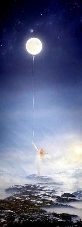 Angel luna y mar mis juguetes favoritos Angel Haniel, shine God's grace.