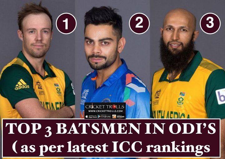 #ICC #ICCRankings Top 3 batsmen in latest ICC ODI rankings :  AB de Villiers Virat Kohli & Hashim Amla - http://ift.tt/1ZZ3e4d