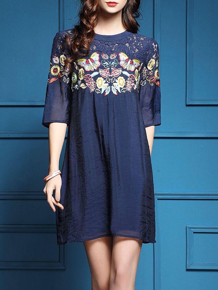 Shop Mini Dresses - Navy Blue Paneled Casual A-line Animal Print Mini Dress  online