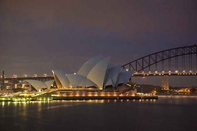 Sydney Opera House from Mrs Macquaries Chair at 5.45am on a rainy winter morning. Brrr