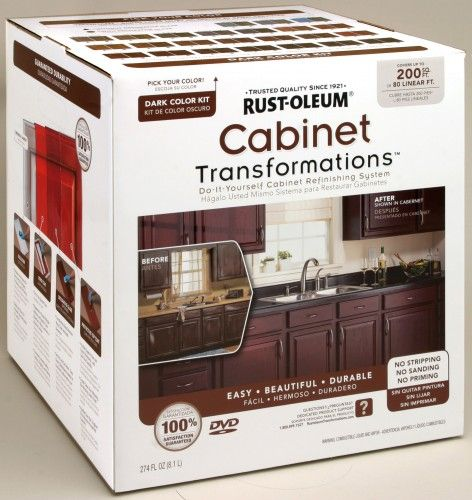 Cabinet-Transformations Rust-Oleum cabinet painting kit, no sanding, works on laminate, wood, melamine and metal
