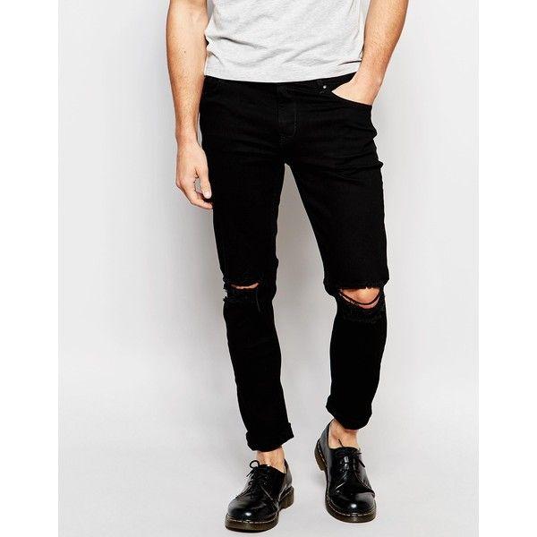 Hoxton Denim Black Skinny Knee Slit Jean (£51) ❤ liked on Polyvore featuring men's fashion, men's clothing, men's jeans, black, mens ripped jeans, mens distressed skinny jeans, mens distressed jeans, mens skinny jeans and mens skinny fit jeans