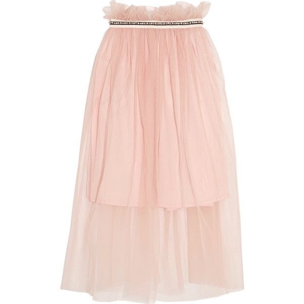 Mother of PearlUrsula Embellished Tulle Midi Skirt ($350) ❤ liked on Polyvore featuring skirts, pastel pink, pink tulle skirt, embellished skirts, tulle skirt, calf length skirts and pastel skirt