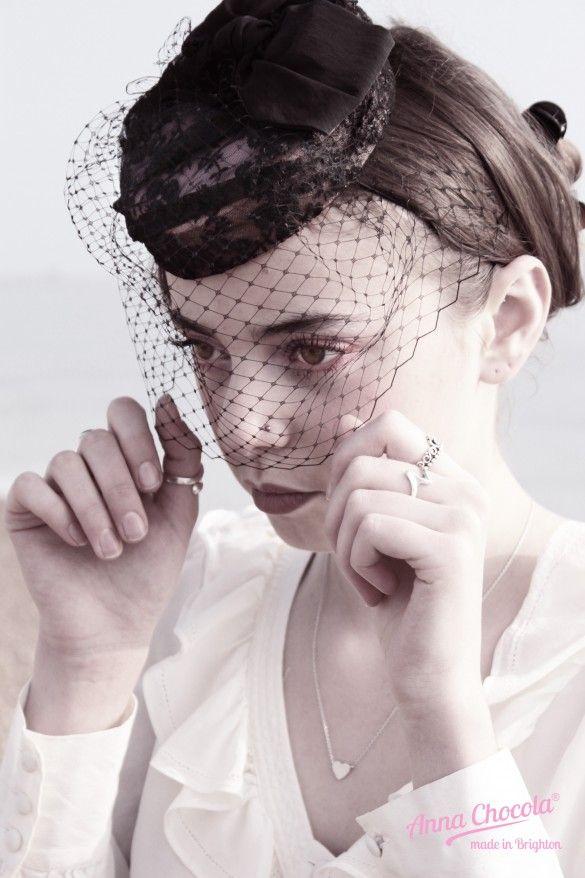 Birdcage Veil Coquette pillbox hat - Anna Chocola® Brighton Milliner #judithm Sweet percher with face veil.