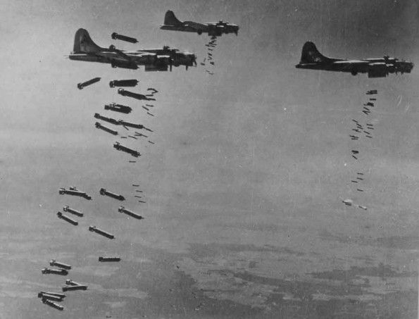 B-17 bombers of the US Eighth Air Force releasing bombs over the target in Nazi-occupied Europe.