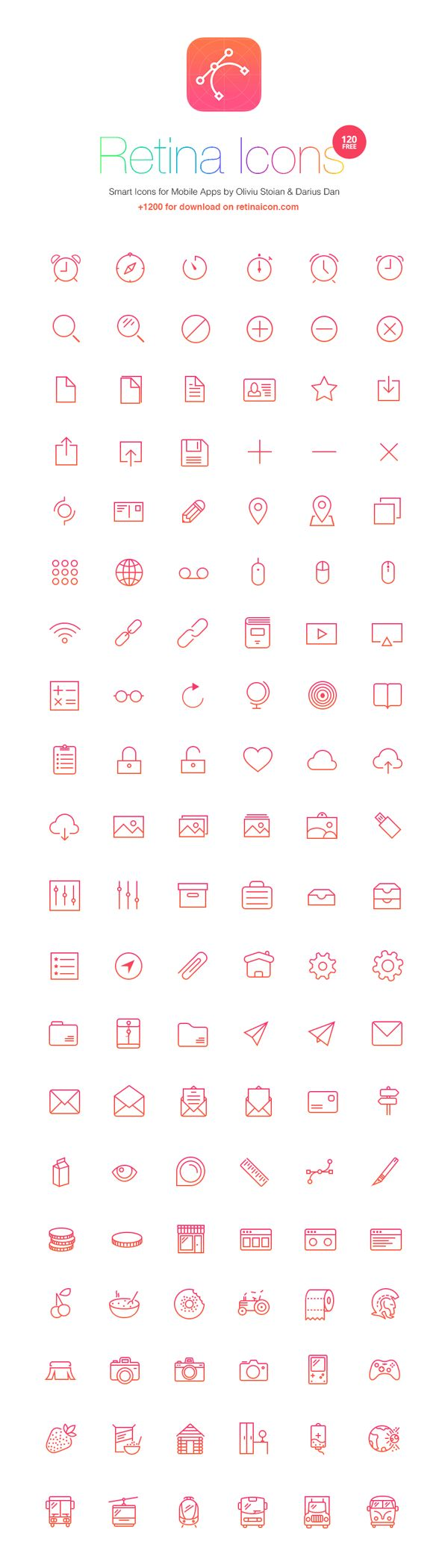 120 Free Icons - RetinaIcon | GraphicBurger