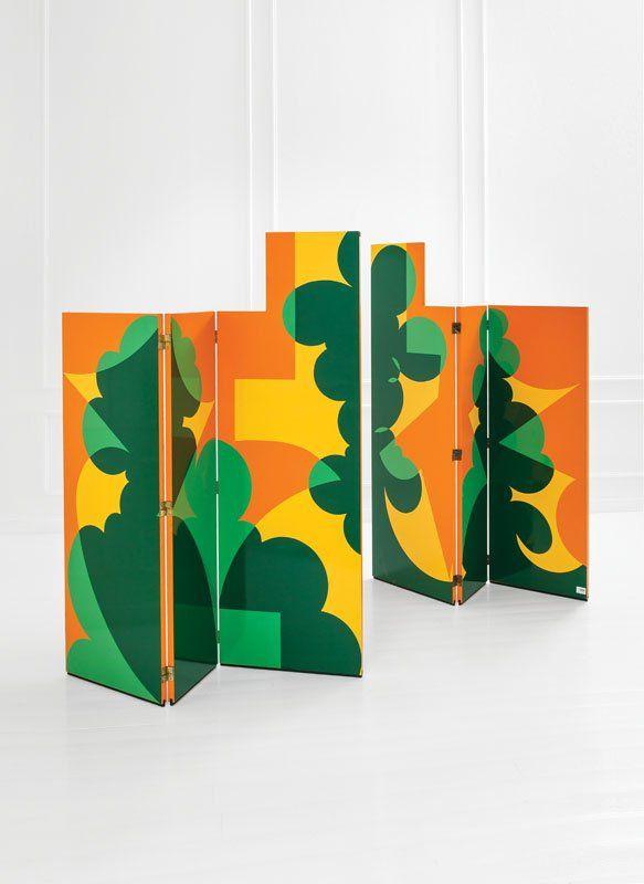Giacomo Balla; Silk-Screened Honeycomb Wood Screens by Simon International for Dino Gavina for the Ultramobile Collection, 1971. Based on a 1918 Design.