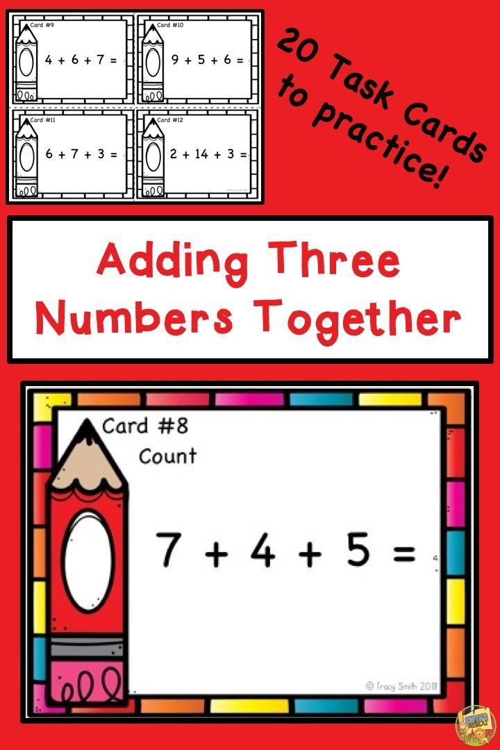 Adding 3 numbers together addition of three one digit numbers adding 3 numbers together adding 3 one digit numbers 20 colorful task cards to fandeluxe Image collections