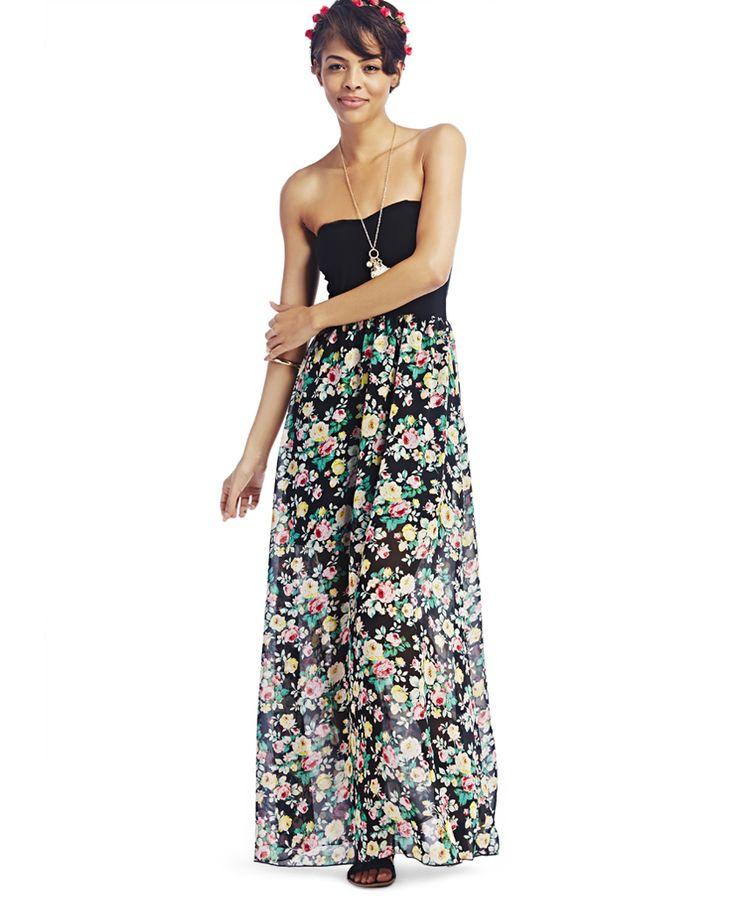 2fer Floral Print Tube Maxi Dress 2fer Floral Print Tube Maxi Dress