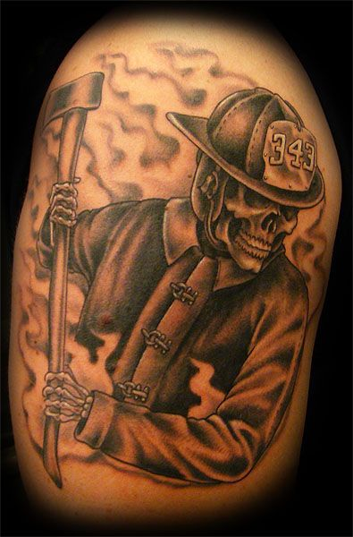 Related Pictures Firefighter Skull Tattoo Shoulder And Arm Shared By ...