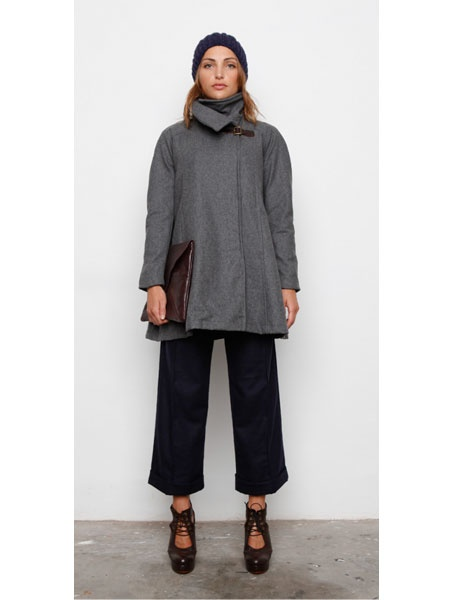 The Susie Buckle Coat from Melbourne wonder duo 'Hansom' is a soft wool blend coat coat with leather buckle fastening has high neck collar and can be folded down as lapels. Coat has deep side pockets, and a full contrast checked lining $249