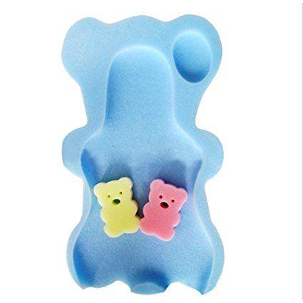 Pueri Baby Comfy Bath Sponge Mat Soft Anti-slip Bath Cushion for Toddlers Infant (Blue)