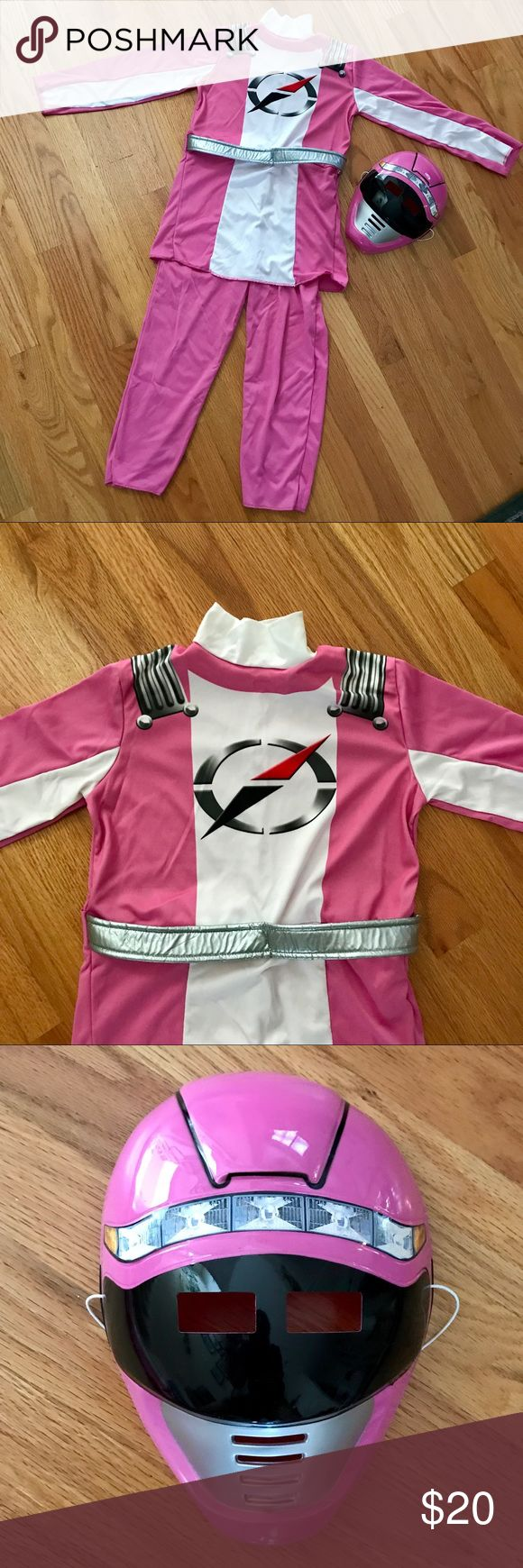 "👫KIDS Halloween 🎃 Costume Pink Power Rangers costume with matching mask that has elastic around the back. A pink belt in back helps for a perfect fit. Velcro closure for easy on/off. Length 38"", Inseam 18"", PTP 14"". Power Ranger Costumes Halloween"