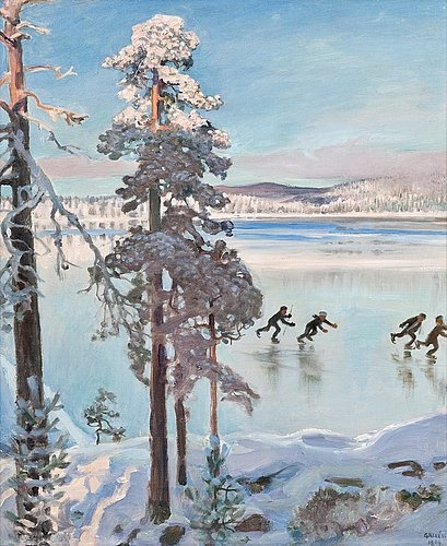 'Skaters Near The Shores of Kalela'  Akseli Gallen Kallela.  That Feeling of Gliding Through Still Winter Wonderland, sometimes creating the only movement and sound  for miles around....that feeling is perfectly depicted here.