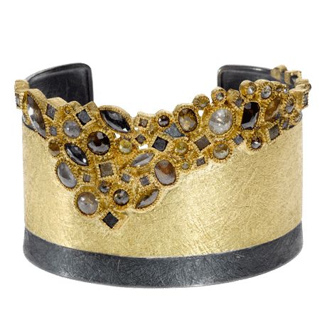 Cuff | Todd Reed. 18ky gold, silver, diamonds.