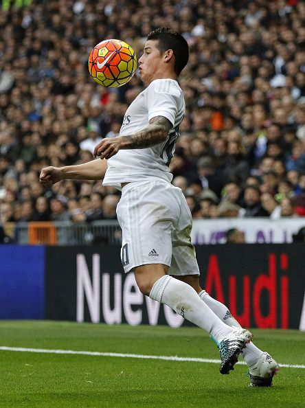 James Rodriguez of Real Madrid in action during the La Liga match between Real Madrid CF and Real Sociedad at Estadio Santiago Bernabeu on December...
