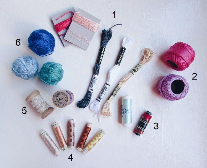 Hilos para Bordar! 1-Mouliné 2-Perlé 3-Hilo de coser 4-Hilos de seda 5-Hilos de fibra de formio de Hilarios 6-Lanas