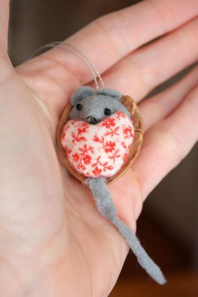 (I still have mine from when we made them w/ Aunt Edie 30+ years ago!) Mouse in a walnut shell ornament.