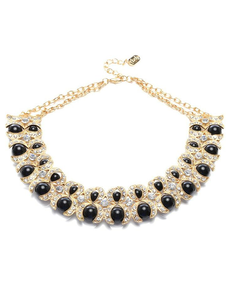 ASCH   Statement Bib in Black, Crystal and Gold -  - Style36