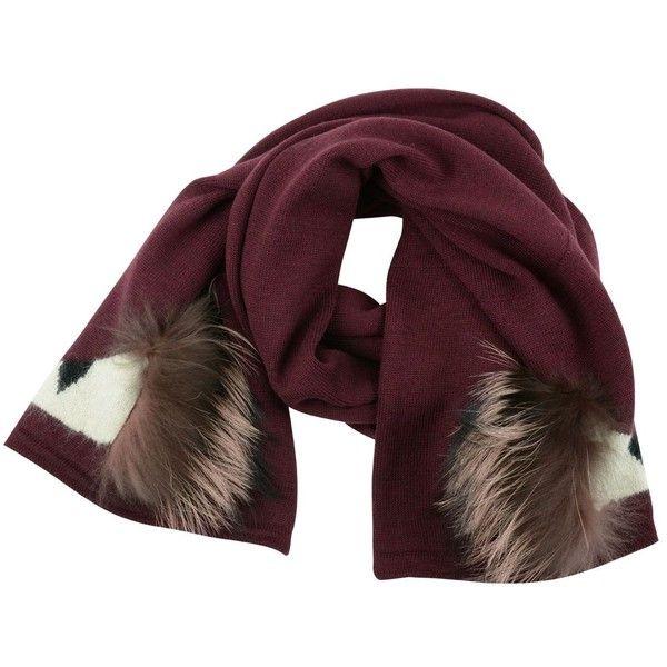 Fendi Bag Bugs Scarf (33.000 RUB) ❤ liked on Polyvore featuring accessories, scarves, new york, fendi scarves, fur trim shawl and fendi