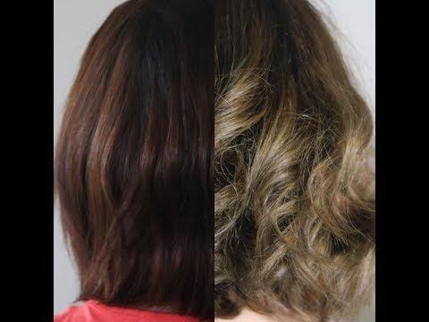 طريقه صبغ الشعر من بني غامق الى اشقر رمادي How To Dye Hair From Dark Brown To Ash Dark Blonde Youtube Hair Dark Hair Hair Styles