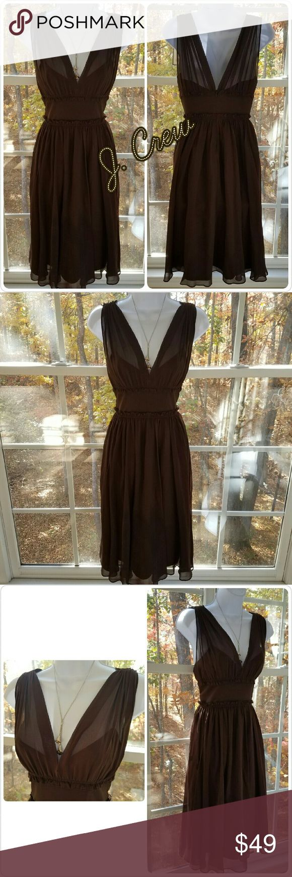 🆕J. Crew Chocolate Brown Elegant Silk Party Dress Gorgeous chocolate brown party dress from J. Crew.   100% Silk Dry Clean Only  100% Polyester Lining  Sleeveless  Back zippered closure  Measurements to be added   Please let me know if you have any questions. Thank you for looking! Xoxoxoxo J. Crew Dresses