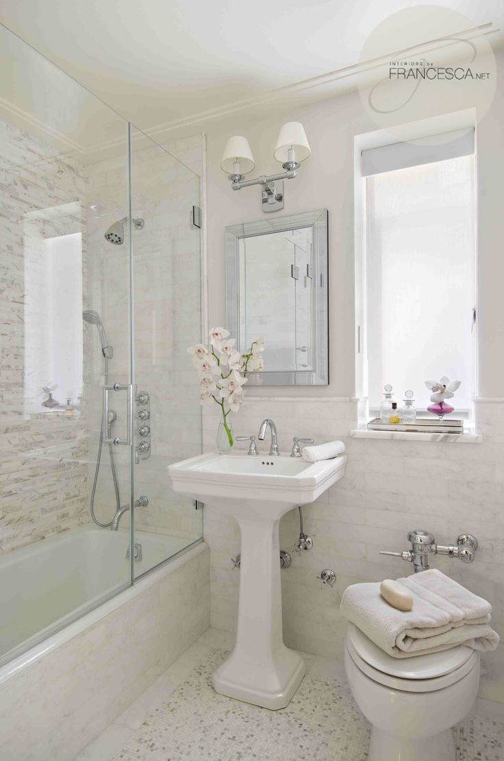 Bathroom in pure neutrals. This could be as small as you see in the picture