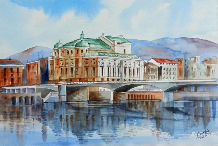 Arriaga theater and bridge, Bilbao, Spain, watercolour by Anurag Mehta, Udaipur , India. Available. bpbilbao@gmail.com