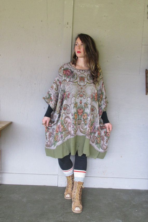 upcycled tunic top Bohemian caftan one size oversize plus size clothing Poncho shirt kaftan Artsy Couture Eco Boho top by LillieNoraDryGoods