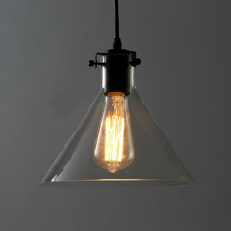 Modern vintage industrial metal glass ceiling light shade pendant filament bulb
