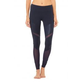Sheila Legging-For those who put their mat in the front of the room, the contemporary Sheila Legging demands attention with glossy moto-inspired V stripes and shiny power mesh panels. Check your chair pose in these. Hidden key/card pocket in waistband.