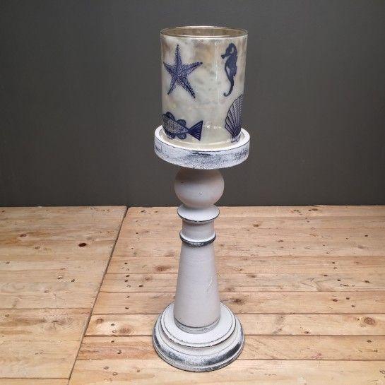 Ξύλινο Λευκό Κηροπήγιο Γυάλα Καλοκαιρινή Παράσταση Μεγάλο http://nedashop.gr/Spiti-Diakosmhsh/khrophgia/ksylino-khrophgio-kalokairinh-parastash-megalo