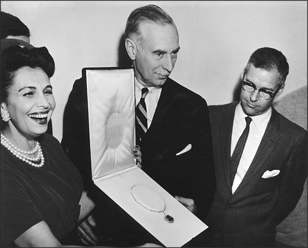 The Hope Diamond upon its donation to the Smithsonian.  Why u smilin Mrs. Harry Winston :0