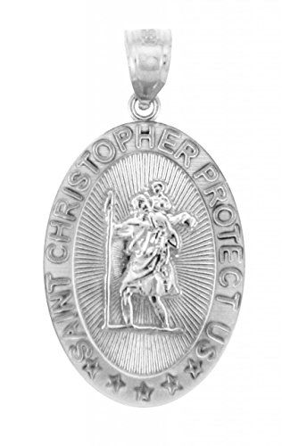 925 Sterling Silver St Christopher Medal Patron Saint of Travelers Catholic Protection Pendant
