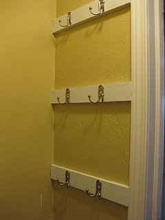 closet storage hooks! Hang backpacks, hats, etc. I could hang the hooks vertically instead of horizontally