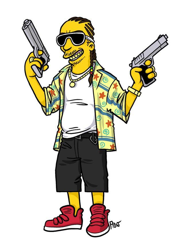 "Alien (James Franco) from ""Spring Breakers"" / Simpsonized by ADN"