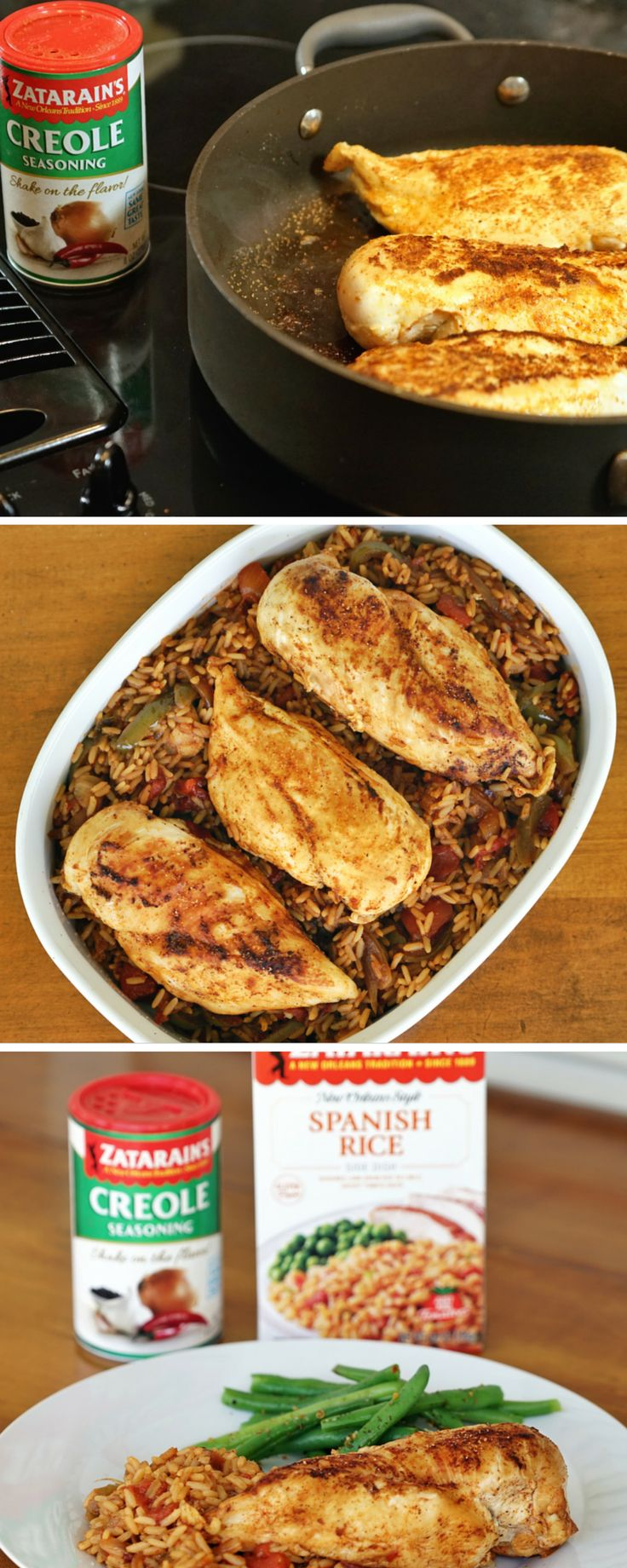 High on flavor and low on prep time, this one-skilled chicken and rice recipe is perfect for any day of the week. Sprinkle Zatarain's Creole Seasoning over chicken and cook in the same skillet with bell pepper, onion, diced tomatoes and Zatarain's Spanish Rice.