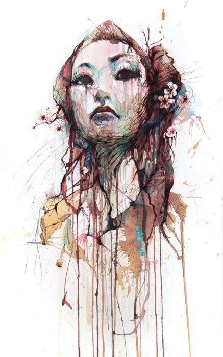 Strength, ink and tea on paper. By Carne Griffiths. Via tumblr.