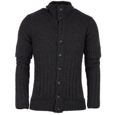 Dolce & Gabbana Dark Grey Wool Heavyweight Knitted Cardigan