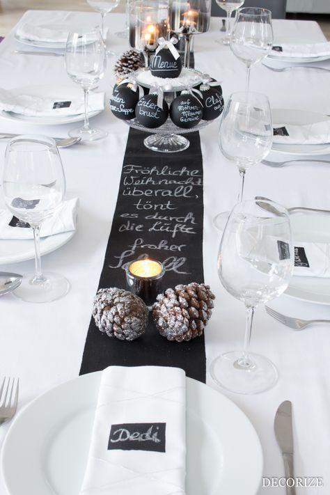 Festtafel zu Weihnachten – Tischdekoration mit Tafelfarbe