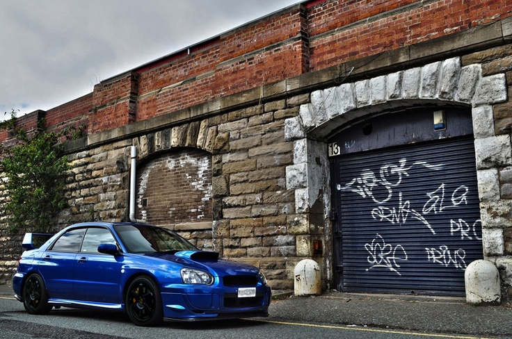 2004 Subaru Impreza STI blue on black