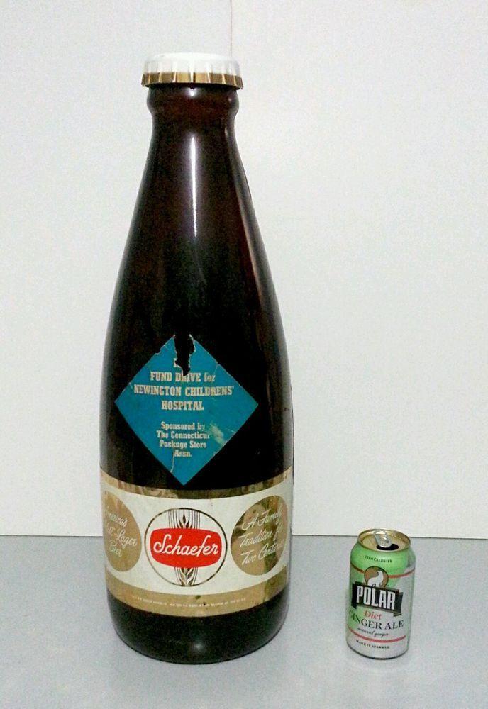 Vtg huge 22 5 plastic schaefer beer display coin bank for Big bottle coin banks