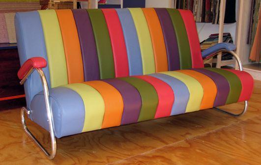 chrome sofa in a rainbow of vinyl sections - Living Room, Wellington