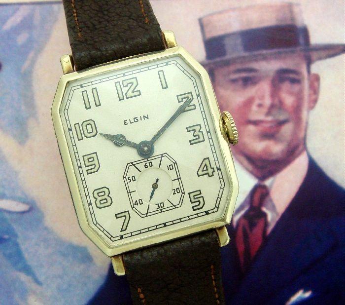 Pentru bărbați 1924 Elgin 14k supradimensionată Dress ceas    Strickland Vintage ceasuri