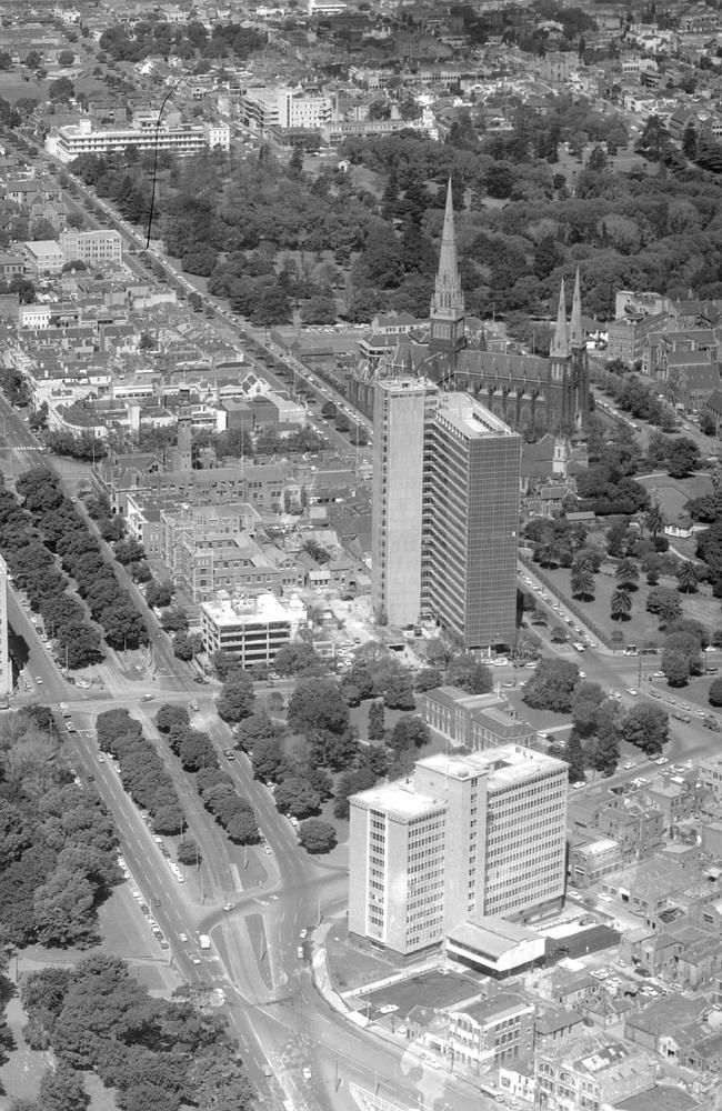 1958: Aerial view of East Melbourne. Picture: Herald Sun Image Library