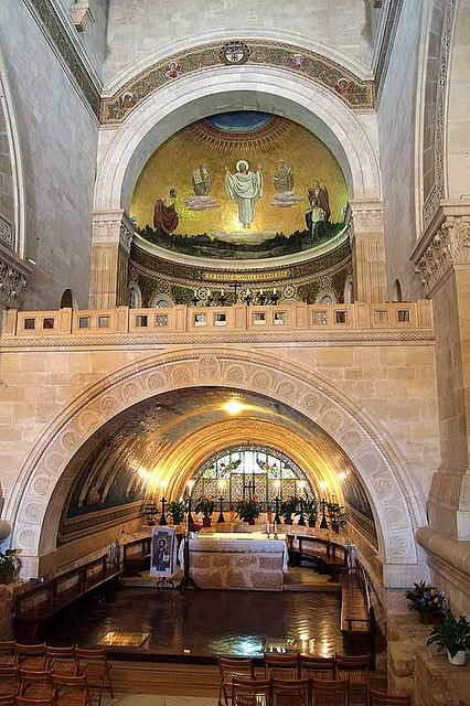 Dentro de la Iglesia de la Transfiguración, en la cima del monte. Tabor, Israel