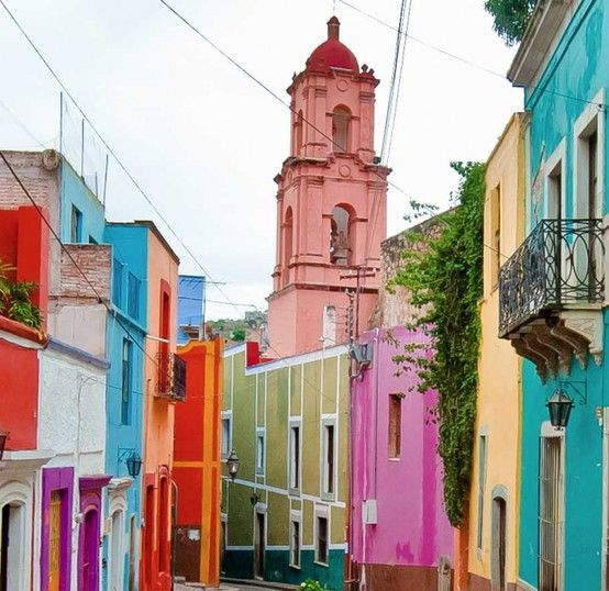Beautifully painted buildings! color color palette color combo Guanajuato, Mexico ridecolorfully