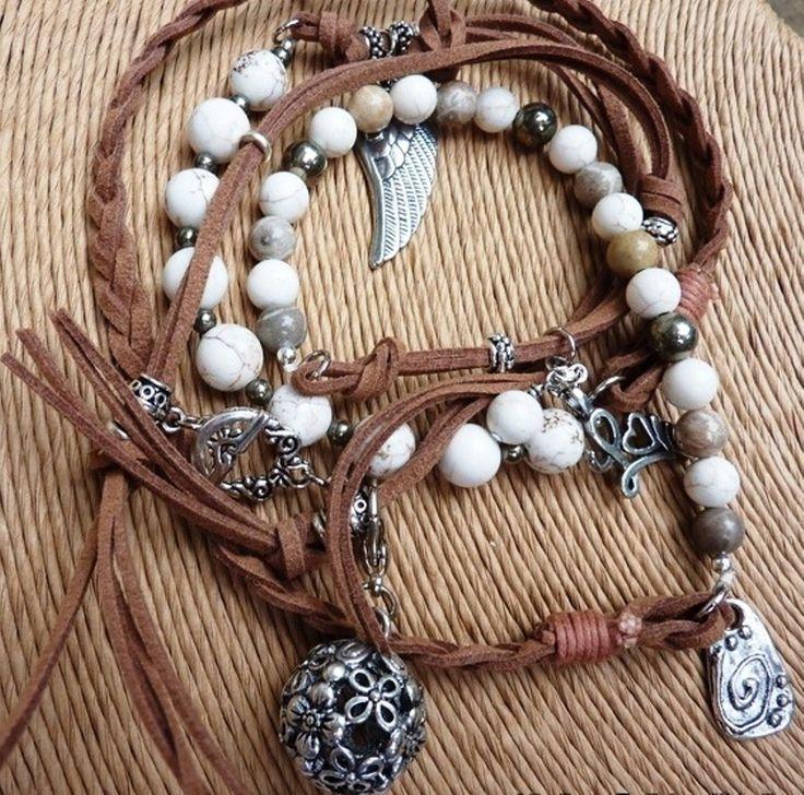 Magnesite 2-Tone Love Wrap - handmade crystal energy gemstone jewellery Earth Jewel Creations Australia