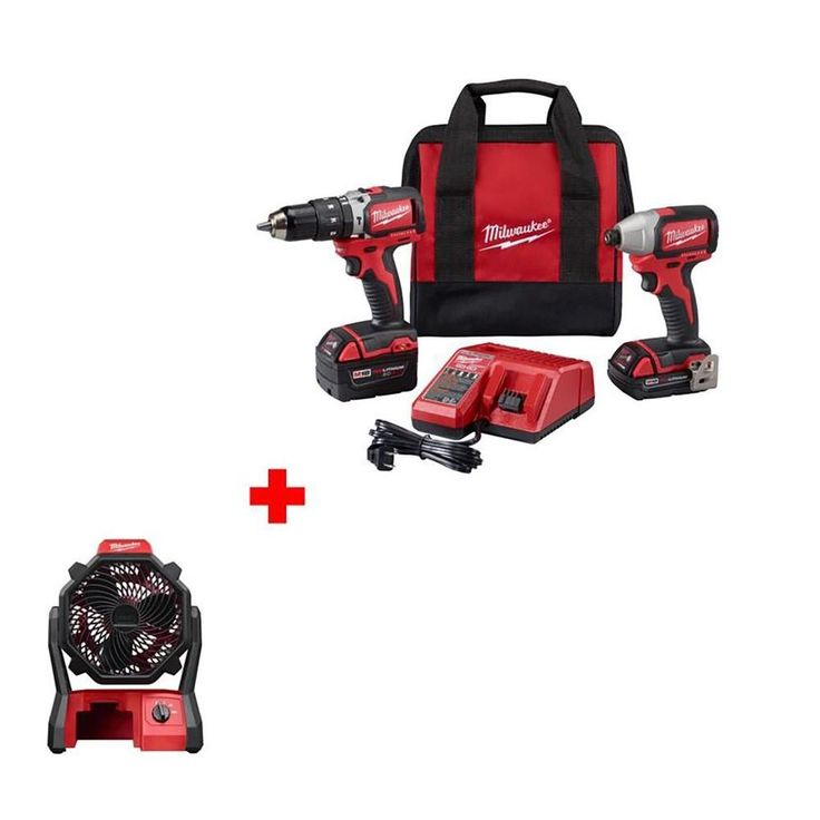 Milwaukee M18 18-Volt Brushless Hammer Drill/Impact Driver Combo Kit with Free M18 18-Volt Cordless Jobsite Fan (Tool-Only)